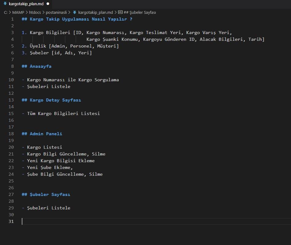 Kargo Takip Yazılımı PHP